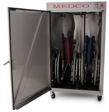 Medco Model 64X (extra tall) is designed to wash two wheelchairs at a time